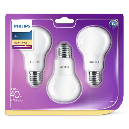 Philips - LED E27 40W-5,5W 3-Pack