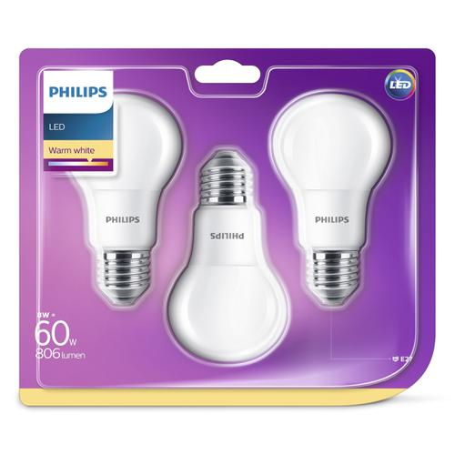 Philips - LED E27 60W-8W 3-Pack